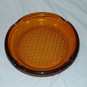 Vintage Heavy Yellow Colored Glass Ashtray